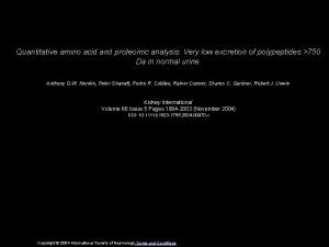 Quantitative amino acid and proteomic analysis Very low