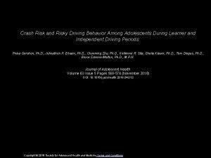 Crash Risk and Risky Driving Behavior Among Adolescents
