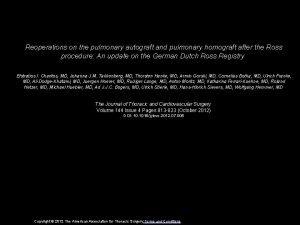 Reoperations on the pulmonary autograft and pulmonary homograft
