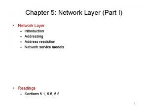 Chapter 5 Network Layer Part I Network Layer