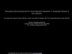 Parenteral Dihydroergotamine for Acute Migraine Headache A Systematic