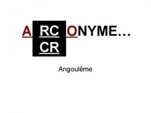 RC A ONYME CR Angoulme CAS CLINIQUE Femme