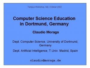 Tempus Workshop Ni October 2002 Computer Science Education