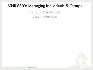 MHR 6500 Managing Individuals Groups Instructor Chris Hartwell