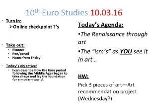 10 th Euro Studies 10 03 16 Turn