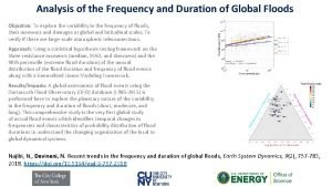 Analysis of the Frequency and Duration of Global