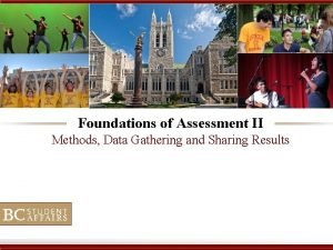 Foundations of Assessment II Methods Data Gathering and