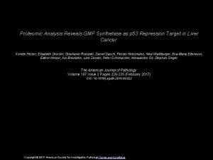 Proteomic Analysis Reveals GMP Synthetase as p 53