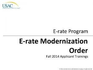 Erate Program Erate Modernization Order Fall 2014 Applicant