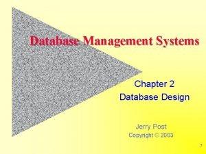 Database Management Systems Chapter 2 Database Design Jerry