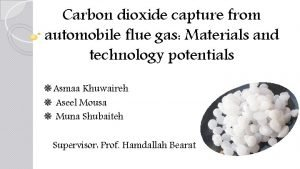 Carbon dioxide capture from automobile flue gas Materials
