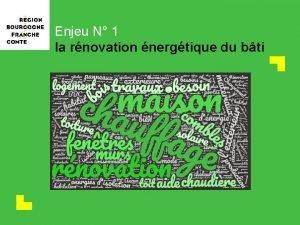 Enjeu N 1 la rnovation nergtique du bti