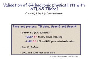 Validation of G 4 hadronic physics lists with