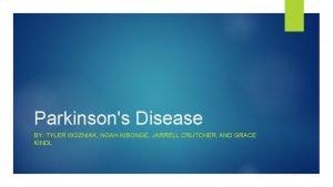 Parkinsons Disease BY TYLER WOZNIAK NOAH KIBONGE JARRELL