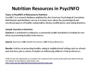 Nutrition Resources in Psyc INFO Topics in Psyc