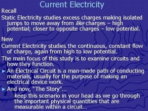 Current Electricity Recall Static Electricity studies excess charges