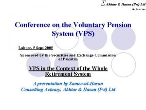 S Akhtar Hasan Pvt Ltd Actuaries Conference on
