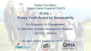 Rotary Foundation Global Grants Projekt 1752073 RYAS Rotary