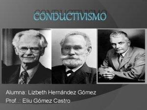 CONDUCTIVISMO Alumna Lizbeth Hernndez Gmez Prof Eliu Gmez