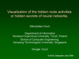 Visualization of the hidden node activities or hidden