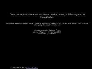 Craniocaudal tumour extension in uterine cervical cancer on