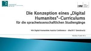 Die Konzeption eines Digital HumanitesCurriculums fr die sprachwissenschaftlichen