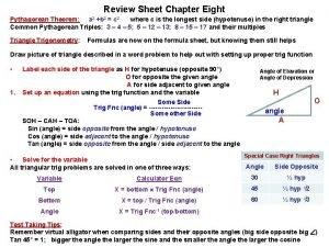 Review Sheet Chapter Eight Pythagorean Theorem a 2