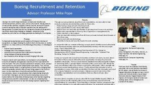 Boeing Recruitment and Retention Advisor Professor Mike Pope