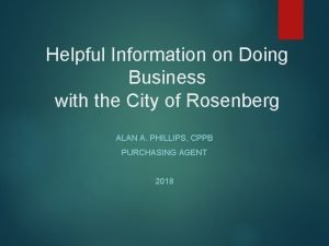 Helpful Information on Doing Business with the City