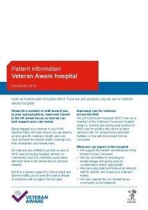 Patient information Veteran Aware hospital November 2018 Here