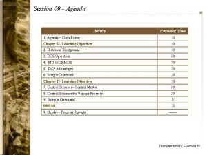 Session 09 Agenda Activity Estimated Time 1 Agenda