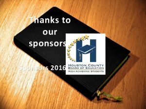 Thanks to our sponsors Sponsors 2016 2017 contribute
