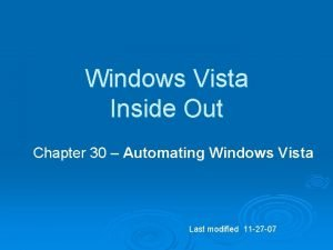 Windows Vista Inside Out Chapter 30 Automating Windows