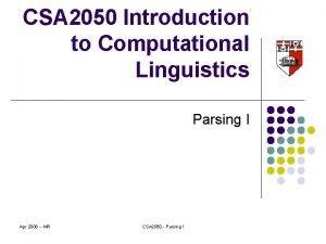 CSA 2050 Introduction to Computational Linguistics Parsing I