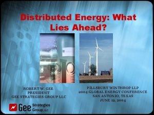 Distributed Energy What Lies Ahead ROBERT W GEE