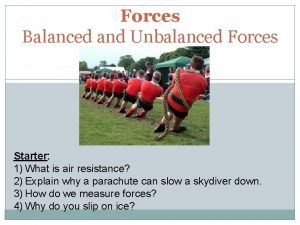 Forces Balanced and Unbalanced Forces Starter 1 What