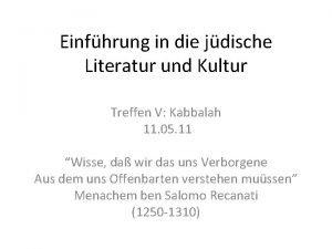 Einfhrung in die jdische Literatur und Kultur Treffen