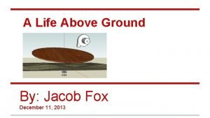 A Life Above Ground By Jacob Fox December