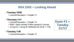 SSA 2302 Looking Ahead Tuesday 1030 LectureDiscussion Chapter