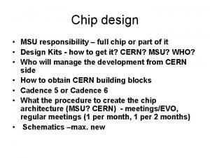 Chip design MSU responsibility full chip or part