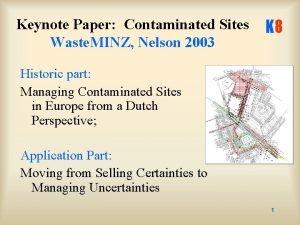 Keynote Paper Contaminated Sites Waste MINZ Nelson 2003