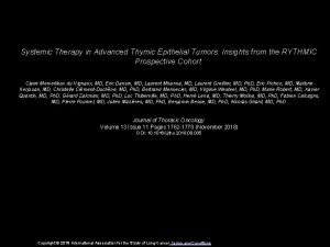 Systemic Therapy in Advanced Thymic Epithelial Tumors Insights