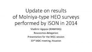 Update on results of Molniyatype HEO surveys performed