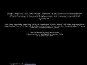 Safety Analysis of Four Randomized Controlled Studies of