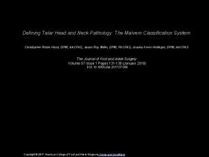 Defining Talar Head and Neck Pathology The Malvern