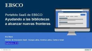 Portafolio Saa S de EBSCO Ayudando a las