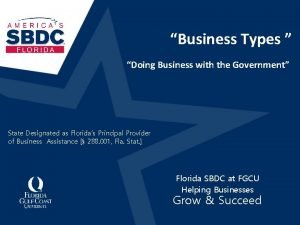 Business Types Doing Business with the Government State