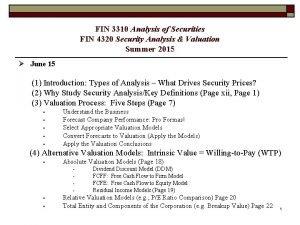 FIN 3310 Analysis of Securities FIN 4320 Security