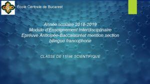 cole Centrale de Bucarest Anne scolaire 2018 2019