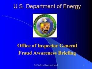 U S Department of Energy Office of Inspector